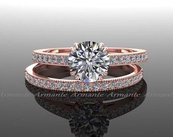 Rose Gold Moissanite Ring Set, Vintage Solitaire Diamond Wedding Set, 1. Carat Round Charles Colvard Moissanite, Natural Diamonds, RE19R