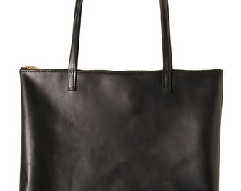 Black Leather Horween Zippered Tote