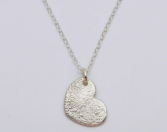 Fingerprint Jewelry, Silver Heart Necklace, Heart Fingerprint Necklace, Personalized Necklace, Memorial Necklace, Wedding, Anniversary, Love