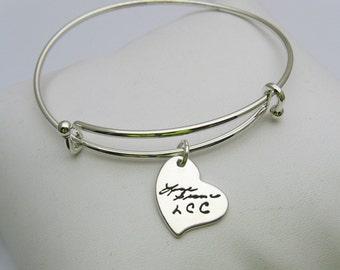 Sterling Silver Charm Bracelet, Handwriting Charm, Adjustable Bangle Bracelet, Heart Charm, Flower Charm, Star Charm, Personalized Charm