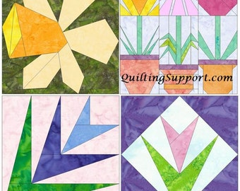 Flower Set 2 Paper Foundation Piecing Quilting 4 Block Patterns PDF