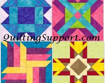 10 Inch Foundation Set 3 Paper Piecing Quilting 4 Block Patterns PDF