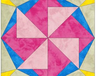 Lucky Star Template Quilting Block Pattern Paper Piece