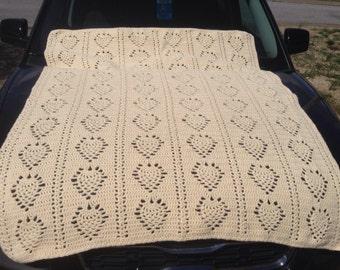 "55"" x 44"" Hand Crocheted Dark Cream Pineapple Pattern Afghan"