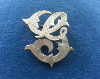 "Vintage Etched Sterling Initial ""G"" Brooch Pin from Mexico"