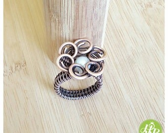 wire wrapped flower ring/ring flower jewelry/copper flower/gemstone flower ring/wire flower/pearl ring wire/woven ring pearl/wire pearl ring