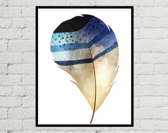 Feather Art, Watercolor Feather, Watercolor Feather Print, Feather Artwork, Feather Art Print, Feather Print, Feather Printable