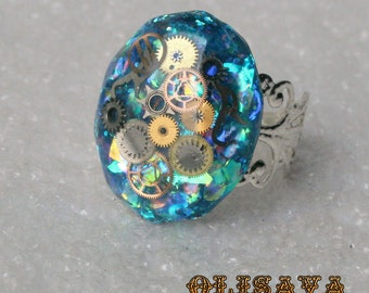 Steampunk Resin Ring with Vintage Small  Watch Parts . Steampunk jewelry , Watch Parts Resin Ring