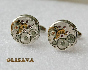 SALE..Watch Movement Cufflinks  ,  Steampunk Cufflinks . Steampunk jewelry ,  Vintage Clockwork Watch Movement Cuff Links