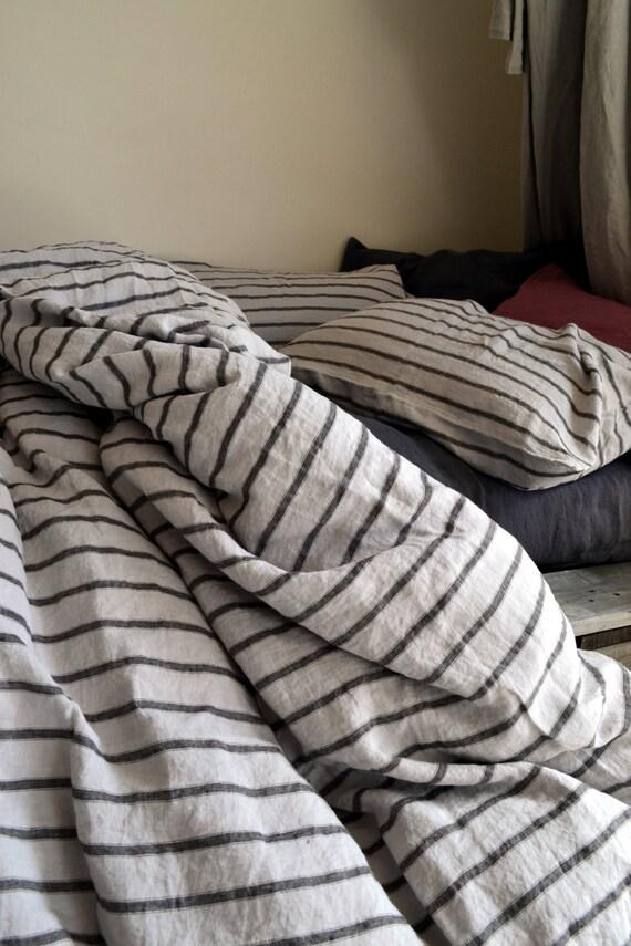 New Vintage Black Ticking Stripe Linen Duvet Cover Quilt