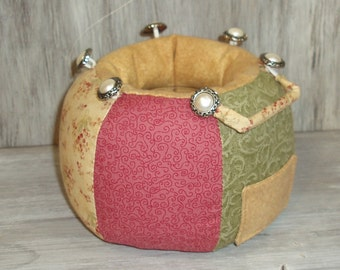 Pincushion Caddy Catchall Portable Sewing Organizer - Red, Green, Yellow