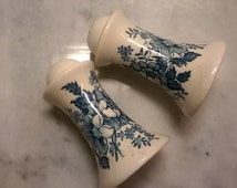 Vintage English Royal Staffordshire Transferware Salt and Pepper, Painted Blue, English Pottery