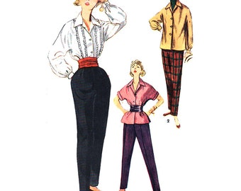 Simplicity Sewing Pattern 4464 Misses' Blouse, Over-blouse, Tapered Pants  - estimated Vintage 1970's Size:  16  Bust 34  Used
