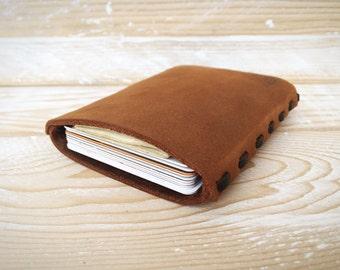 Very Slim Leather Card Holder, Card Wallet, Mens, Front Pocket, 10 Cards, Business Card Holder, Minimalist, Money & Card Holder (CH10C1)