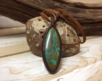 Chrysocolla Necklace, Chrysocolla Pendant, Leather Necklace, Gift, One of a Kind, Special, Leather Pendant Necklace, Healing, Boho, Energy