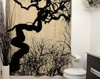 Mozartgrab Printed Shower Curtain, Silhouette, Austria Photography, Mozartgrab, Halloween Decor, Goth, Scary, Spider Web