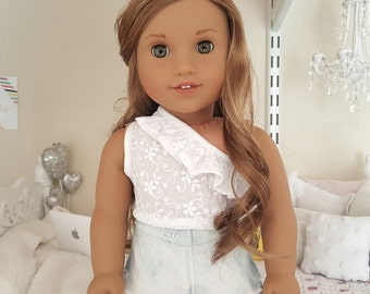 18 inch doll white eyelet top