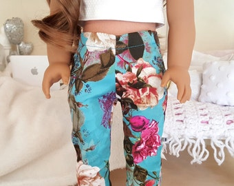 18 inch doll floral skinny jeans