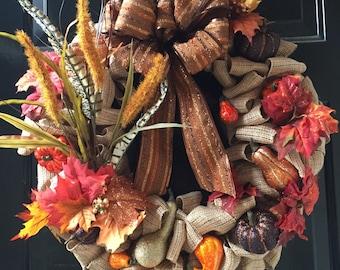 Fall harvest Thanksgiving burlap door wreath