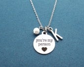 Personalized, Letter, Initial, Pearl, You're my person, Necklace, Grey's Anatomy, Gift, Silver, Necklace, Greys Anatomy, Gift, Jewelry