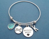 You're my person, Personalized, Glass, Color, Personalized, Letter, Initial, Pinky promise, Heart, Bangle, Bracelet, Friendship, Gift