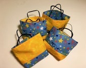 Happy Birthday or Congrats Re-Usable Treat Bags  Small Gift Bags with Colorful Stars Confetti on Blue Background and Gold Marble fabric