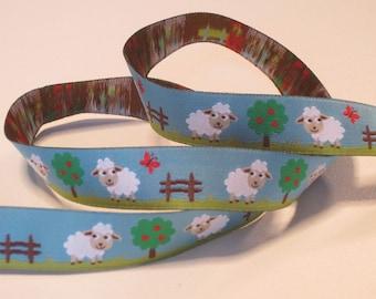 Woven Ribbon 16 mm sheep on light blue