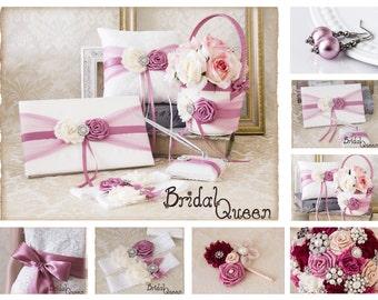 Your Color, Ring Bearer Pillow, Flower Girl Basket, Rosy Mauve Flower Girl Basket and Ring Bearer Pillow Set, Wedding Pillow, Guest Book