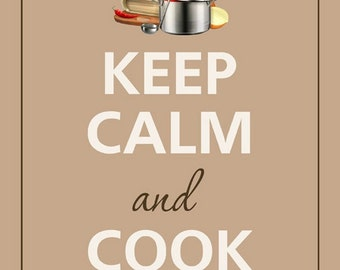 Rectangle Refrigerator Magnet - Keep Calm and Cook On Chef Hat & Pot - MT - DF - 0253