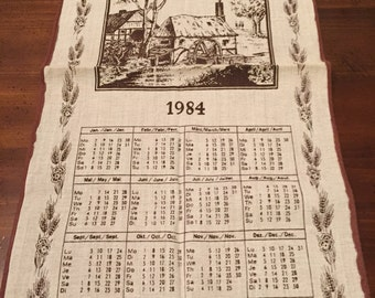 Vintage 1984 Multi Lingual Calendar Towel - English, German and French - Walterscheid