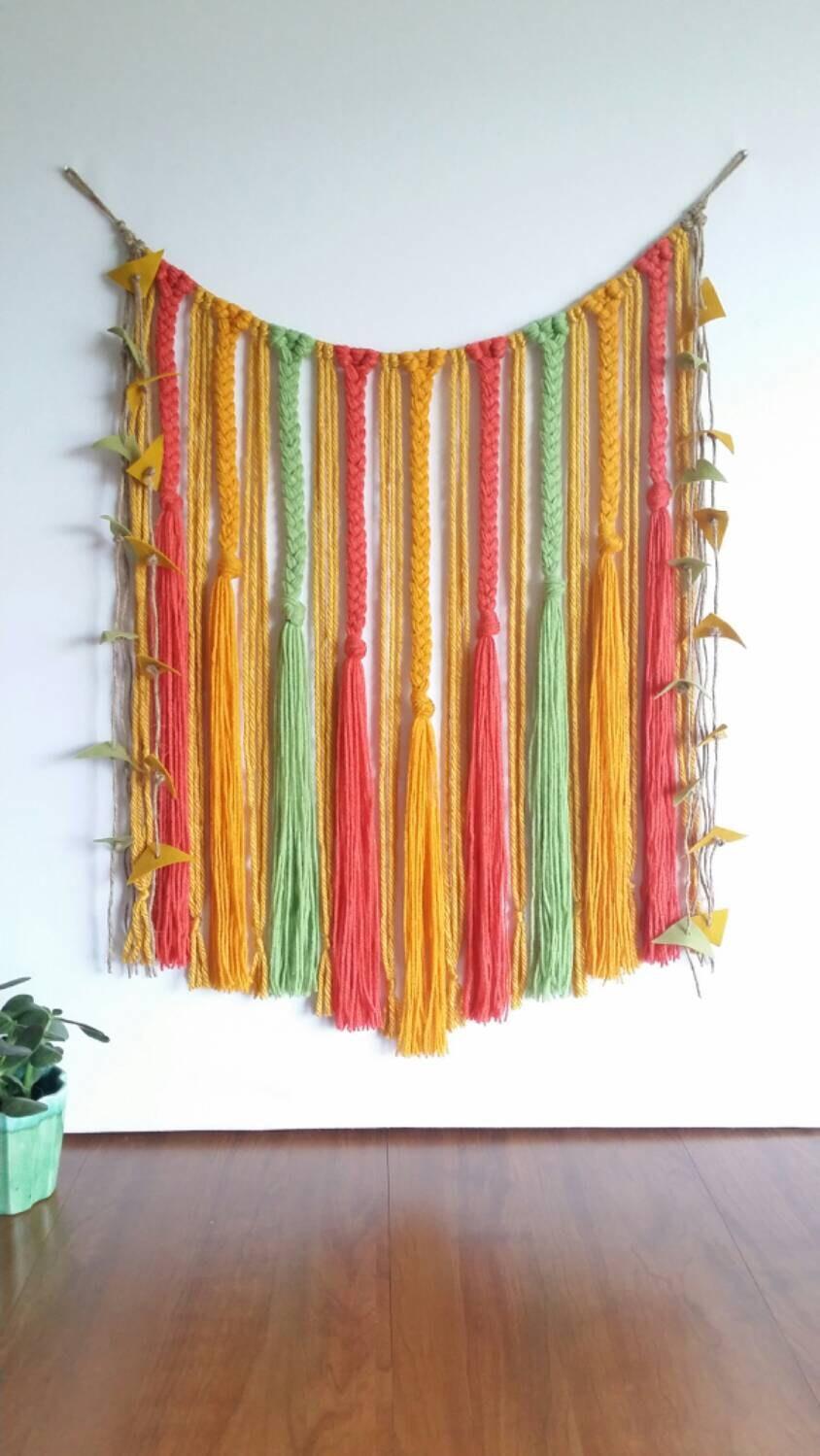 Yarn wall hanging braided colorful wool felt bohemian for Yarn wall hanging