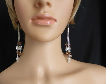 Crystal Quartz and Brandy Topaz Drop Earrings