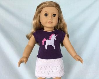 Unicorn T-Shirt and Eyelet Skirt for American Girl/18 Inch Doll