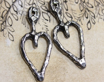 Heart Charms. Handcrafted Handmade Jewelry Making Supplies No. 243C