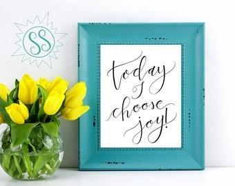 Choose Joy Wall Art / Today I Choose Joy / Joy Wall Art / Christian Wall Art / Christian Art Print / Choose Joy Every Day / THW093