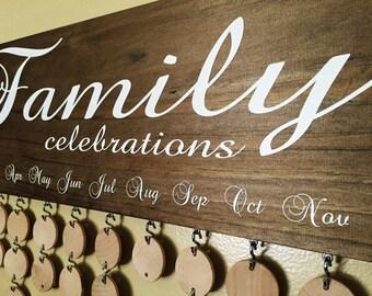 Handmade Family Birthdays Board - Family Celebrations Board w/ Natural Discs - Birthday Calendar - Celebrations Wall Hanging - FC001 - FB001