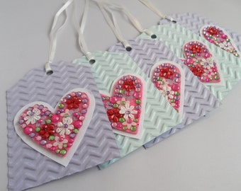 Sparkly gem heart gift tags (pack of 5)