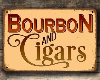 BOURBON and CIGARS SIGN, Bourbon and Cigars Signs, Vintage style Bourbon and Cigars sign, Home Bar Decor, Bourbon Gift, Cigar Gift, Man Cave