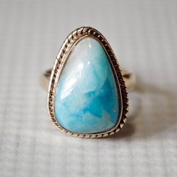 Sterling Silver Larimar Ring Sz 5 #6347