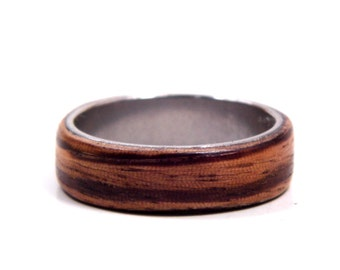 Size 11 Red Oak Stainless Steel Bentwood Ring