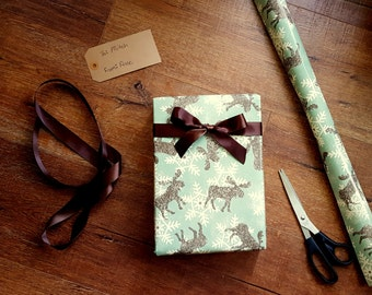 Winter Moose Gift Wrap, Rustic Country Christmas Wrapping Paper, Masculine Gift Wrap, 10 ft x 2 ft. / 3.048 m. x .60 m. Roll