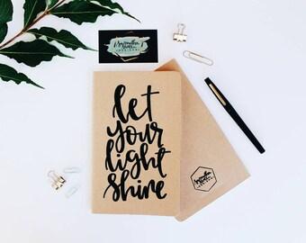 Let Your Light Shine - Moleskine Kraft Journal, Hand-lettered, Modern Calligraphy, Prayer Journal