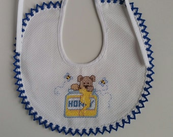 Embroidered bib cross stitch-Bear eating honey bee-now available