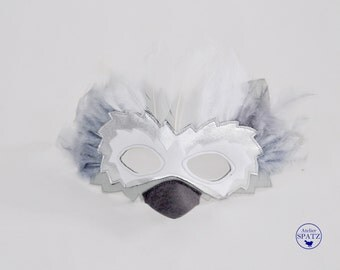 White Silver Snow Owl Mask | White Bird Mask | Feather Mask to match Bird Capes | Bird Wings | Kids Costume