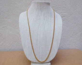 """30"""" Long Gold Spiga Chain Necklace, Vintage Wheat Chain 1980's"""