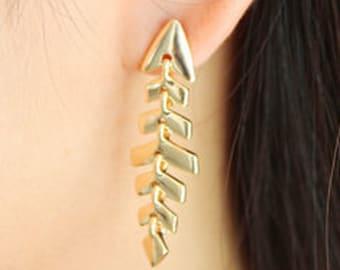 Fern dangle earrings, leaf dangle earrings, banana leaf earrings, natural drop earrings, gold leaf drop earrings, christmas gift