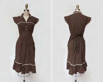 Prairie Lace Dress { S-M } Vintage 1970s Dress >> 70s Floral Dress