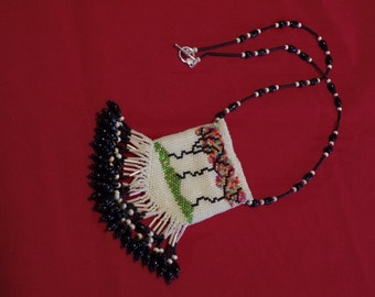 Beaded Crazy Colored Tree Amulet Bag