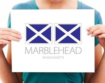 Marblehead, Massachusetts - Nautical Flag Art Print
