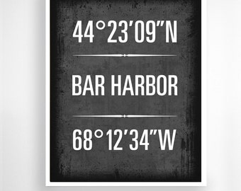 "Bar Harbor, Maine - Geographic Coordinate Print,  8"" x 10"" or 11"" x14"""